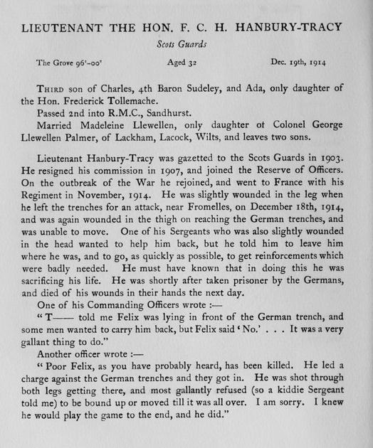 UK Photo Archive: Harrow Memorials Of The Great War Vol 1 1914-1918 Obituaries &emdash; Hanbury-Tracy F C H Lt The Hon Scots Guards Obit