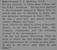 Abbott G D Lt 1st Connaught Rangers Obit Part 2 Bond Of Sacrifice Vol 1