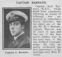 Barnato I H W Captain Royal Naval Air Service The Graphic 29th Oct 1918