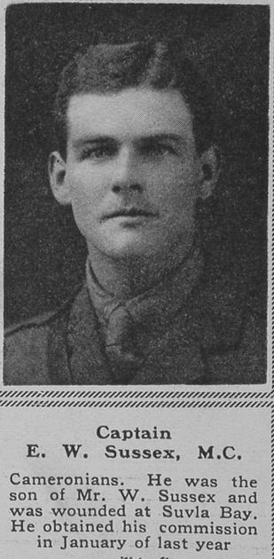 UK Photo Archive: S &emdash; Sussex E W Captain MC Cameronians The Sphere 20th Oct 1917