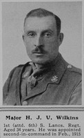 Wilkins H J U Major 6th South Lancs Regt The Sphere 19th Feb 1916