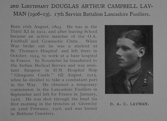 UK Photo Archive: Dulwich College War Record 1914-1919 &emdash; Layman D A C 2nd Lt 17th Lancashire Fusiliers Obit Dulwich College Roll Of Honour