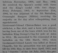 Clinton-Baker O Lt Col 1st Royal Irish Rifles Obit Part 3 The Bond Of Sacrifice Vol 2