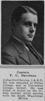 Davidson F C Captain Indian Army The Sphere 8th Sep 1917