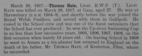 Bate T Lt 5th Royal Welsh Fusiliers Obit Shrewsbury School Roll Of Service