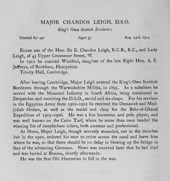 UK Photo Archive: Harrow Memorials Of The Great War Vol 1 1914-1918 Obituaries &emdash; Leigh C Major DSO 2nd Kings Own Scottish Borderers Obit