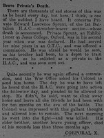 Sprunt E L Pte 1510 Honourable Artillery Company Obit The Graphic 3rd July 1915