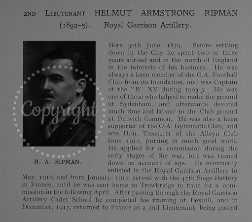 UK Photo Archive: Dulwich College War Record 1914-1919 &emdash; Ripman H A 2nd Lt Royal Garrison Artillery Obit Part 1 Dulwich College Roll Of Honour
