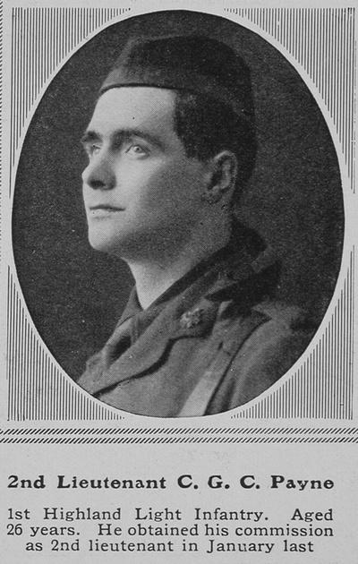 UK Photo Archive: P &emdash; Payne C G C 2nd Lt 1st Highland Light Infantry The Sphere 17th Apr 1915