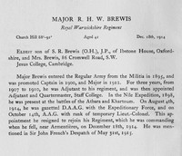 Brewis R H W Major Royal Warwickshire Regiment Obit