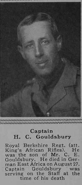 UK Photo Archive: G &emdash; Gouldsbury H C Captain Royal Berkshire Regiment The Sphere 27th Jan 1917