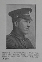 Bancroft J G Pte 6th West Riding Regt Craven Roll Of Honour