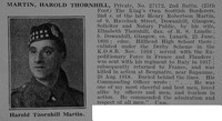 Martin H T Pte 27172 2nd Kings Own Scottish Borderers Obit De Ruvignys Roll Of Honour Vol 5