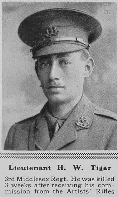 UK Photo Archive: T &emdash; Tigar H W Lt 3rd Middlesex Regiment  The Sphere 21st Aug 1915