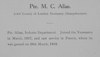 Allan M C Pte 3rd County Of London Yeomanry Sharpshooters Record William Graham Company