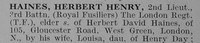 Haines H H 2nd Lt 3rd Royal Fusiliers Obit Part 1 De  Ruvignys Roll Of Honour Vol 3