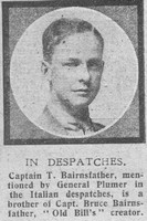 Bairnsfather T D Lt Royal Warwickshire Regiment The Graphic 3rd July 1918