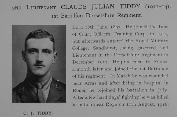 UK Photo Archive: Dulwich College War Record 1914-1919 &emdash; Tiddy C J 2nd Lt 1st Dorset Regiment Obit Dulwich College Roll Of Honour