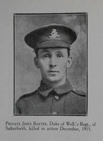 Baxter J Pte 6th West Riding Regt Craven Roll Of Honour