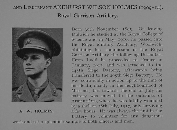 UK Photo Archive: Dulwich College War Record 1914-1919 &emdash; Holmes A W 2nd Lt Royal Garrison Artillery Obit Dulwich College Roll Of Honour