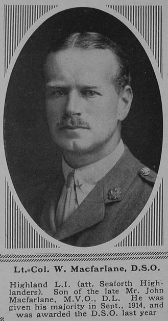 UK Photo Archive: M &emdash; MacFarlane W Lt Col DSO 15th Highland Light Infantry Attd Seaforth Highlanders The Sphere 17th Mar 1917