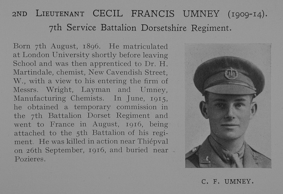 UK Photo Archive: Dulwich College War Record 1914-1919 &emdash; Umney C F 2nd Lt 7th Dorset Regiment Obit Dulwich College Roll Of Honour