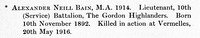 Bain A N Lt 10th Gordon Highlanders Obit St Andrews University Roll Of Honour
