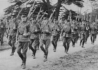 Australian Troops Marching With Fixed Bayonets Shortly After Arriving In England