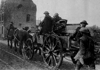 A Captured German Gun Being Taken To A British Workshop Behind Our Front