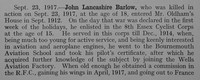 Barlow J L 2nd Lt Royal Flying Corps Obit Part 1 Shrewsbury School Roll Of Service