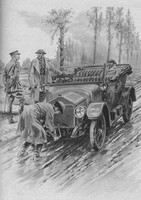 A Chauffeur Of The WAAC Starts The Engine Of An Officer's Car