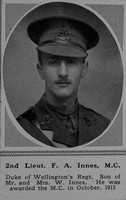 Innes F A 2nd Lt MC 4th Duke of Wellington's (West Riding Regiment) The Sphere 25th Nov 1916