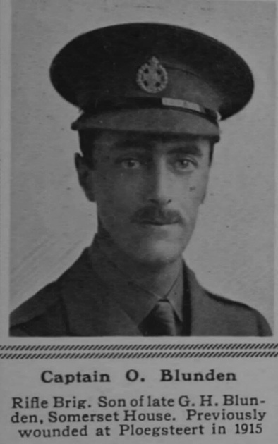UK Photo Archive: B &emdash; Blunden O Captain 16th Rifle Brigade The Sphere 19th Aug 1916