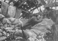 A British Scout On The Lookout  From The Loft Of A Wrecked Farmhouse