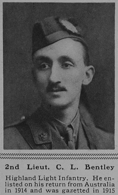 UK Photo Archive: B &emdash; Bentley C L 2nd Lt 15th Highland Light Infantry The Sphere 17th Feb 1917