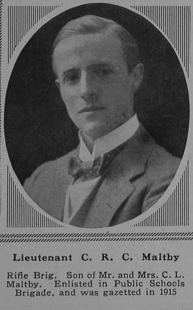 UK Photo Archive: M &emdash; Maltby C R C Lt 12th Rifle Brigade The Sphere 4th Nov 1916
