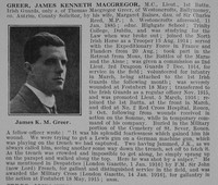 Greer J K M Lt MC 1st Irish Guards Obit De Ruvignys Roll Of Honour Vol 2