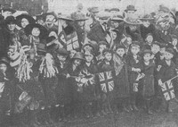 London School Children Celebrating The End Of The War
