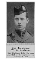 Aitchison W J 2nd Lt 12th Highland Light Infantry The Sphere 1st Jan 1916
