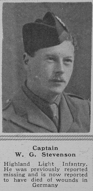 UK Photo Archive: S &emdash; Stevenson W G Captain HLI The Sphere 22nd June 1918