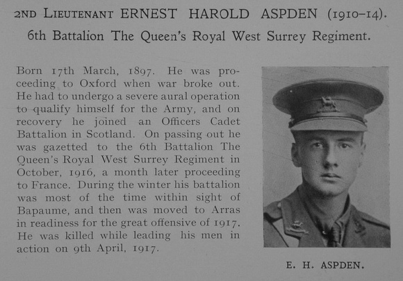 UK Photo Archive: Dulwich College War Record 1914-1919 &emdash; Aspden E H 2nd Lt 6th Queens Royal West Surrey Regiment Obit Dulwich College Roll Of Honour