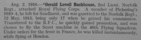 Backhouse G L 2nd Lt Royal Flying Corps Obit Shrewsbury School Roll Of Service