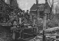A Blown Up Wooden Bridge At Nesle Being Repaired By British Soldiers During The Advance