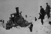 A Jones 2-4-0 That Has Benn Derailed I A Snow Drift In The Scottish Highlands 1895