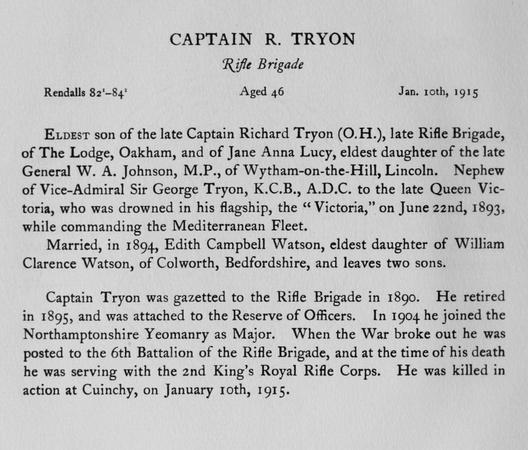 UK Photo Archive: Harrow Memorials Of The Great War Vol 1 1914-1918 Obituaries &emdash; Tryon R Captain Rifle Brigade Obit