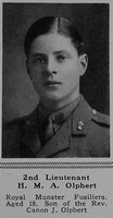 Olphert H M A 2nd Lt 3rd Royal Munster Fusiliers Attd 7th Leinster Regiment The Sphere 9th Dec 1916