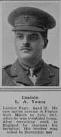 Young L A Captain 20th London Regiment The Sphere 5th Aug 1916