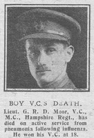 Dallas-Moor G R Lt VC MC 2nd Hampshire Regiment The Graphic 8th Nov 1918