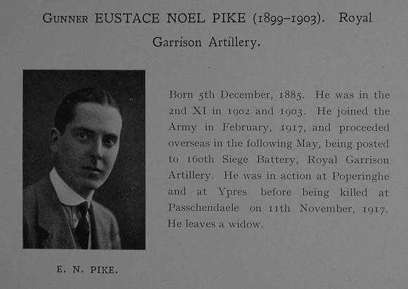 UK Photo Archive: Dulwich College War Record 1914-1919 &emdash; Pike E N Gnr 166259 Royal Garrison Artillery Obit Dulwich College Roll Of Honour