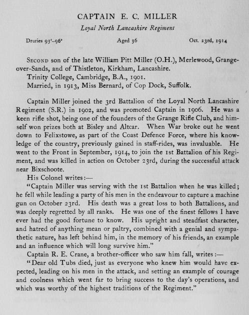 UK Photo Archive: Harrow Memorials Of The Great War Vol 1 1914-1918 Obituaries &emdash; Miller E C Captain Loyal North Lancs Regiment Obit